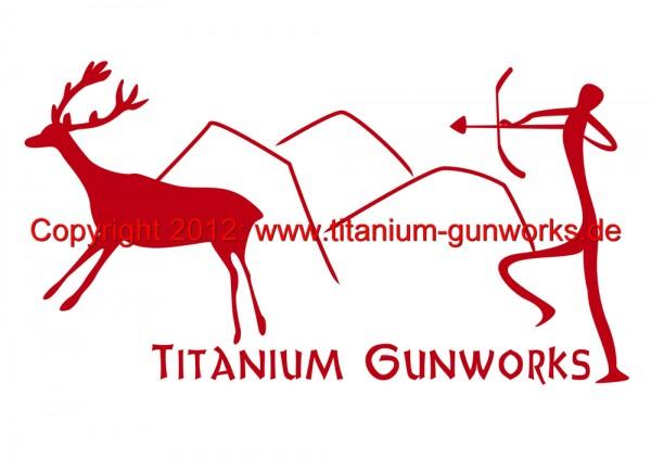 """Titanium Gunworks Aufkleber """"Steinzeitjäger"""""""